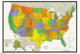 United States Map Physical And Political Poster Kuvia