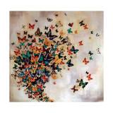Butterflies on Pale Ochre Lámina giclée por Lily Greenwood