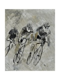 Bikes In The Rain Prints by Pol Ledent