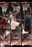 Miami Heat Big 3 Team Nba Sports Poster Plakater