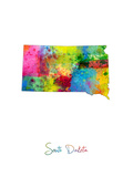 South Dakota Map Premium Giclee-trykk av Michael Tompsett