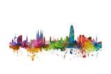 Barcelona Spain Skyline Poster von Michael Tompsett