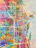 Chicago City Street Map Prints by Michael Tompsett