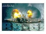 USS Iowa Guns firing Poster