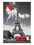 Eiffel Tower with Flag & Bus Posters
