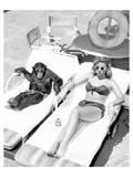 Chimpanzee & Woman Sunbathing Schilderijen