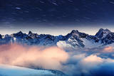 The Milky Way over the Winter Mountains Landscape. Europe. Creative Collage. Beauty World. Reproduction photographique par Leonid Tit
