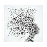 Woman Head Music Notes Splash Kunst av  cienpies