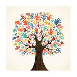 Isolated Diversity Tree Hands Art by  cienpies
