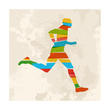 Vintage Multicolor Running Man Print by  cienpies