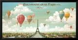 Heißluftballons über Paris Poster von Isiah and Benjamin Lane
