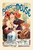 Birre della Mosa|Bieres De La Meuse Poster di Alphonse Mucha