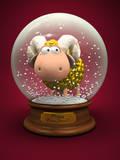 Symbol of 2015. Gold Sheep in Snow Ball 3D Impressão fotográfica por  hemul