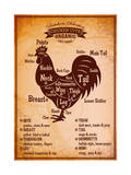 Poster with A Detailed Diagram of Butchering Rooster Art by  111chemodan111
