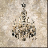 Champagne Chandelier Stretched Canvas Print by Marta Wiley