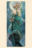 Månen Posters av Alphonse Mucha