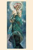 Månen Affischer av Alphonse Mucha