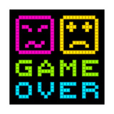 8-Bit Pixel-Art Retro Arcade Game over Message. Eps8 Vector Lámina por  wongstock