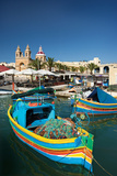 Marsaxlokk Harbor and Church,Malta. Fotografisk tryk af Terry Why