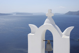 Bell Tower with Caldera in the Distance, Oia, Santorini Island, Cyclades Islands, Greek Islands, Gr Photographic Print by Martin Ruegner