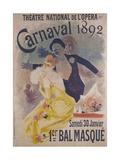 Theatre National de l'Opera, Carnaval 1892, Samedi 30 Janvier, 1er Bal Masque Impressão giclée por Jules Chéret