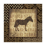 African Wild Zebra Border Poster di Hugo Wild