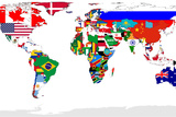 Map Of World With Flags In Relevant Countries, Isolated On White Background Stretched Canvas Print by  Speedfighter