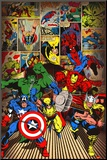 Marvel-Here Come the Heroes Mounted Print