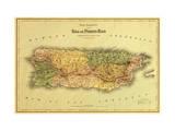 Puerto Rico - Panoramic Map Pingotettu canvasvedos tekijänä  Lantern Press