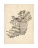 Old Sheet Music Map of Ireland Map