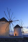 Windmills Kato Mili, Mykonos-Town, Mykonos, Cyclades, Greece Fotografisk tryk af Katja Kreder