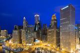 USA, Illinois, Chicago. Night Time View over the City. Fotografisk trykk av Nick Ledger