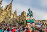 Castellers or Human Tower Exhibiting in Front of the Cathedral, Barcelona, Catalonia, Spain Photographic Print by Stefano Politi Markovina