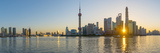 China, Shanghai, Pudong District, Skyline of the Financial District across Huangpu River at Sunrise Fotoprint av Alan Copson