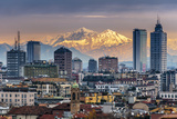 City Skyline at Sunset with the Snowy Alps in the Background, Milan, Lombardy, Italy Photographic Print by Stefano Politi Markovina