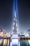 United Arab Emirates, Dubai. Burj Khalifa at Dusk, with Light Show Photographic Print by Matteo Colombo