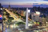 Argentina, Buenos Aires, Avenida 9 De Julio and Obelisk Fotografisk tryk af Michele Falzone