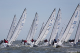 A Fleet of J70 Sailboats During a Race on the Chesapeake Bay Near Annapolis, Maryland Reproduction photographique par Skip Brown
