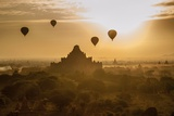 Balloons Above Stupas and Dhammayangyi Patho Temple from the Shwesandaw Pagoda Photographic Print by Tino Soriano