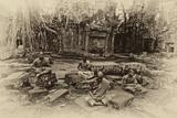 Theraveda Buddhist Monks at the Ta Prohm Temple in the Angkor Complex Fotografie-Druck von Kike Calvo