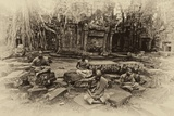 Theraveda Buddhist Monks at the Ta Prohm Temple in the Angkor Complex Photographic Print by Kike Calvo