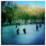 Pond Hockey Pickup Game on the Frozen C&O Canal Near Potomac, Maryland Reproduction photographique par Skip Brown