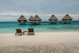 Lounge Chairs at a Beachfront Resort on Bora Bora, Tahiti Photographic Print by Karen Kasmauski