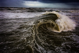 Rough Waves Break Just Off the Outer Banks in North Carolina Reproduction photographique par Chris Bickford