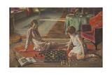 The Chess Players Gicléetryck av Sir John Lavery