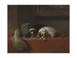 King Charles Spaniels ('The Cavalier's Pets') Giclée-tryk af Edwin Henry Landseer