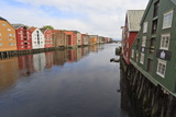 Colourful Wooden Warehouses on Wharves Beside the Nidelva River Photographic Print by Eleanor Scriven