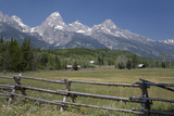 Ranch and Teton Range, Grand Teton National Park, Wyoming, United States of America, North America Photographic Print by Richard Maschmeyer