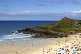 Overlooking Porthmeor Beach on a Sunny Summer Day in St. Ives, Cornwall, England Photographic Print by Simon Montgomery