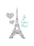 Je T'adore Paris Vintage Reproduction giclée Premium par Marion De Lauzun